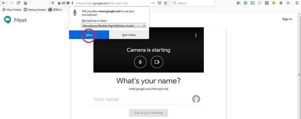 Google Meet: Dovoli uporabo mikrofona