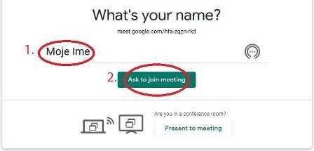 Google Meet: Zaprosi za vstop v konferenčno sobo